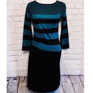 Tahari ASL Striped Wool Knit Sweater Dress